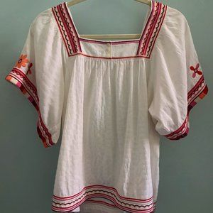 Madewell Embroidered Peasant Blouse